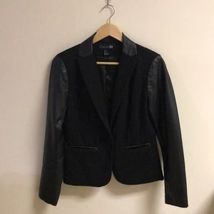NEW Black Blazer w/ Faux Leather Sleeves & Collar